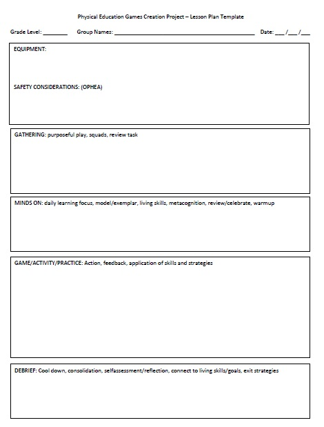 GLAD Lesson Plan Template HPE HINCHLIFFE - Pe lesson plan template